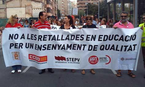 Pancarta cabecera manifestación 22 sept. 2012 Castelló